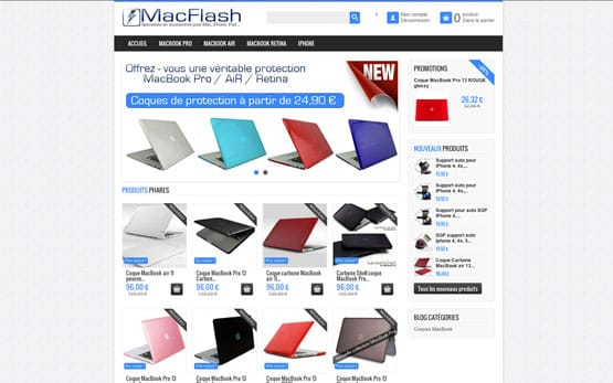 création boutique en ligne prestashop pour vendre des accessoires mac, iphone et ipad